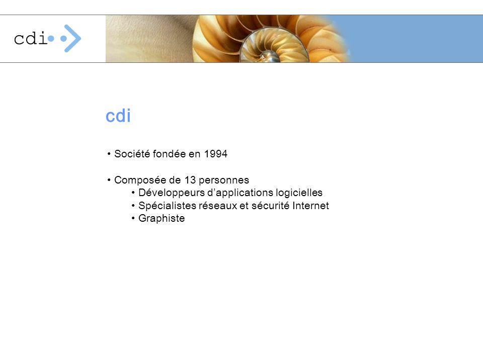 cdi Société fondée en 1994 Composée de 13 personnes