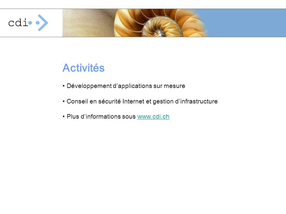 Activités Développement d'applications sur mesure
