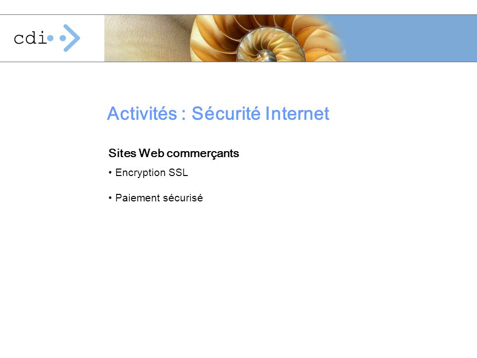 Activités : Sécurité Internet