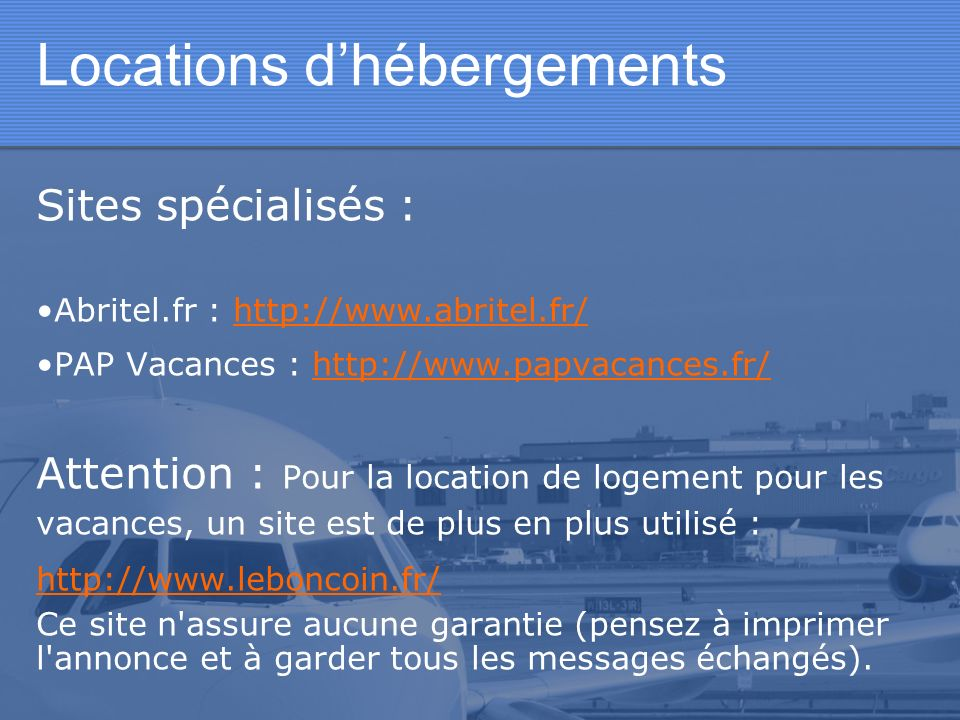 Locations d'hébergements