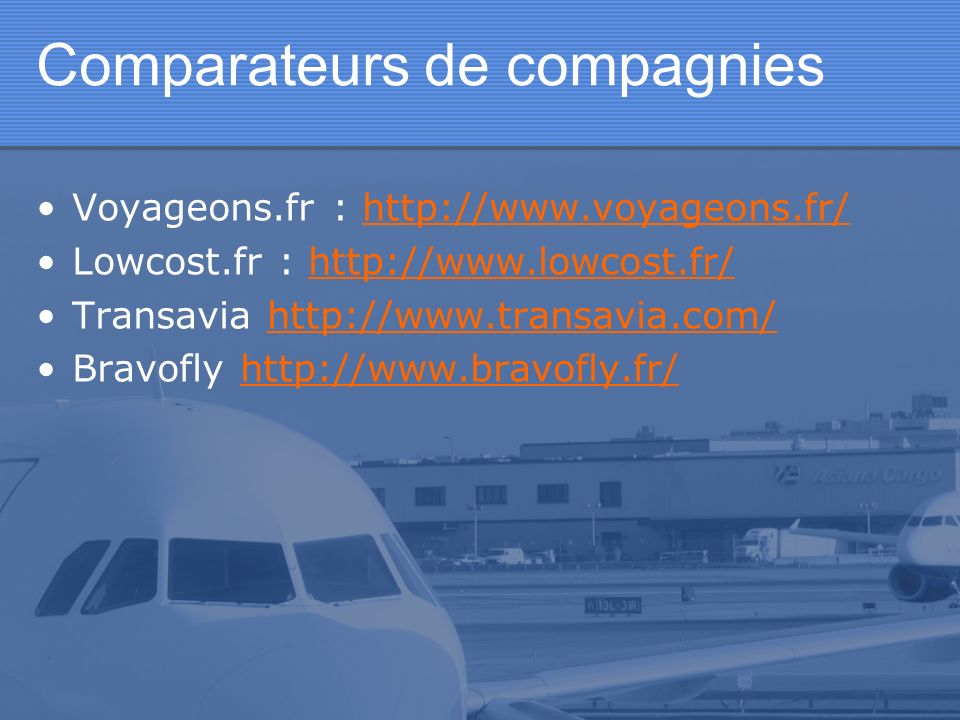 Comparateurs de compagnies