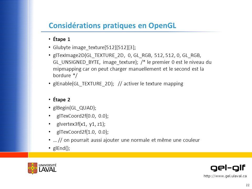Considérations pratiques en OpenGL