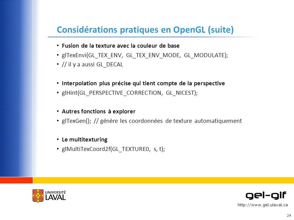 Considérations pratiques en OpenGL (suite)