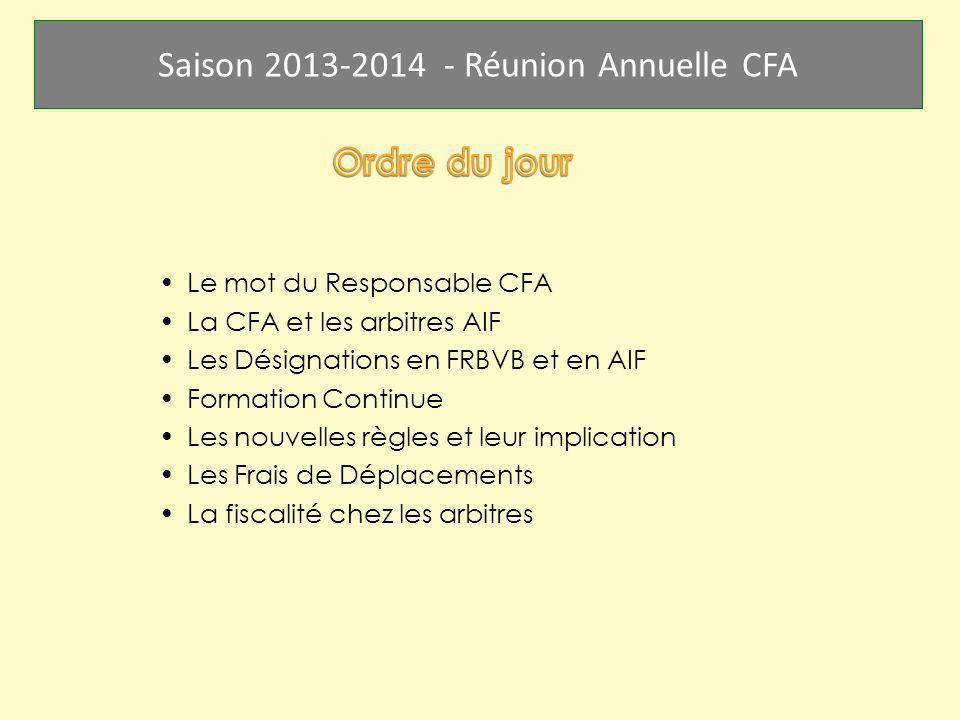Ordre du jour Le mot du Responsable CFA La CFA et les arbitres AIF