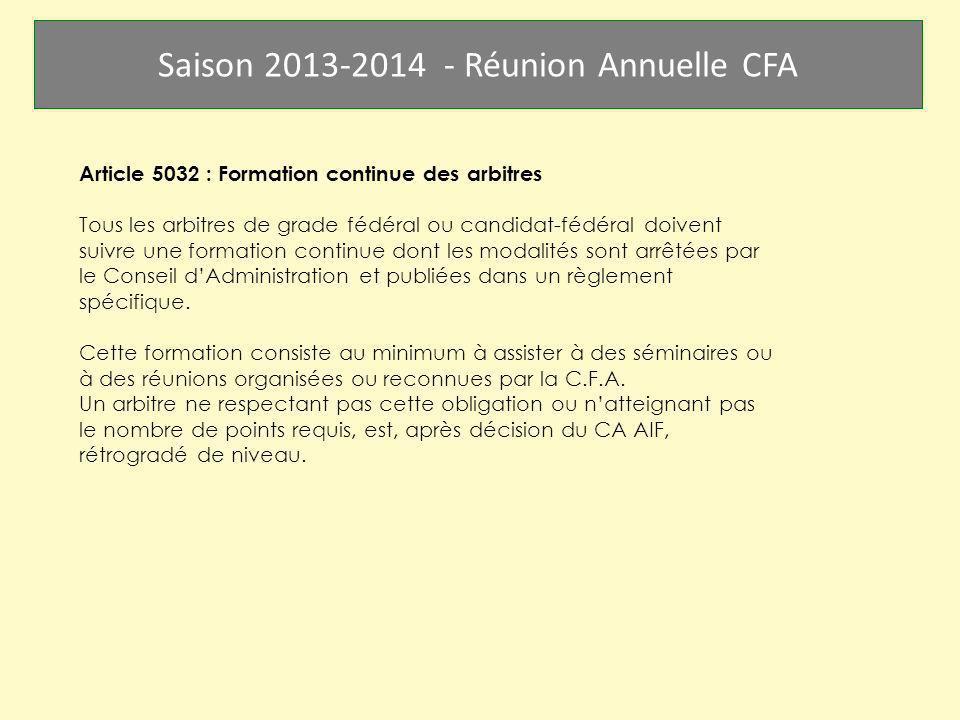 Article 5032 : Formation continue des arbitres