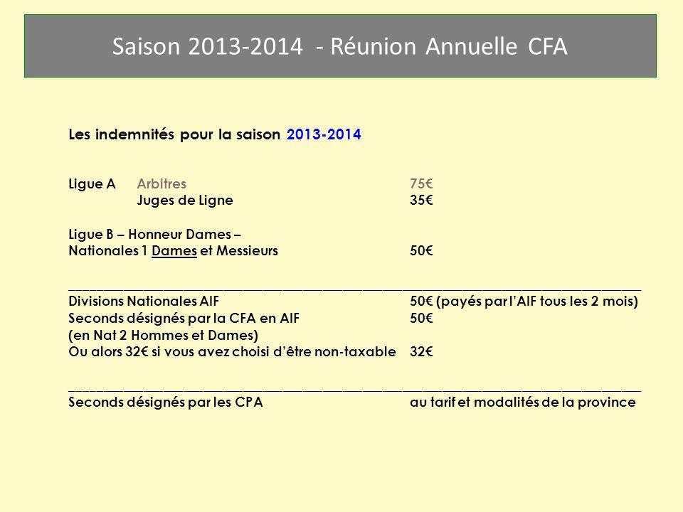Les indemnités pour la saison 2013-2014