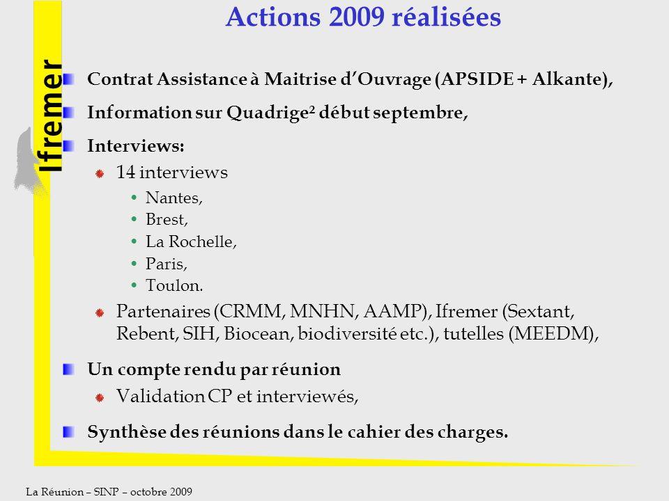 Actions 2009 réalisées Contrat Assistance à Maitrise d'Ouvrage (APSIDE + Alkante), Information sur Quadrige² début septembre,