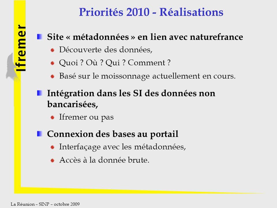 Priorités 2010 - Réalisations
