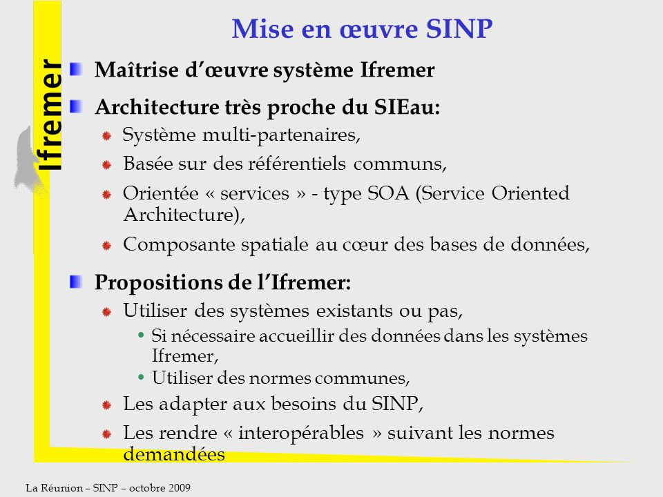 Mise en œuvre SINP Maîtrise d'œuvre système Ifremer
