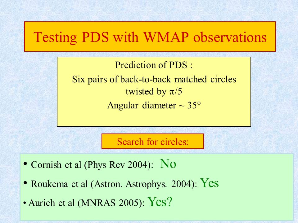 Testing PDS with WMAP observations