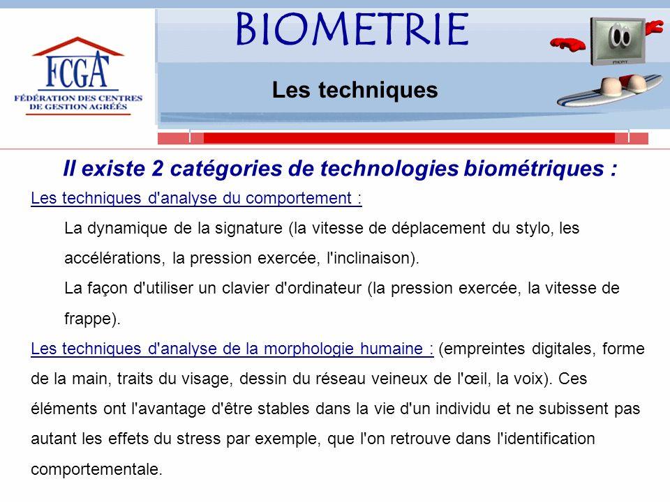 Il existe 2 catégories de technologies biométriques :