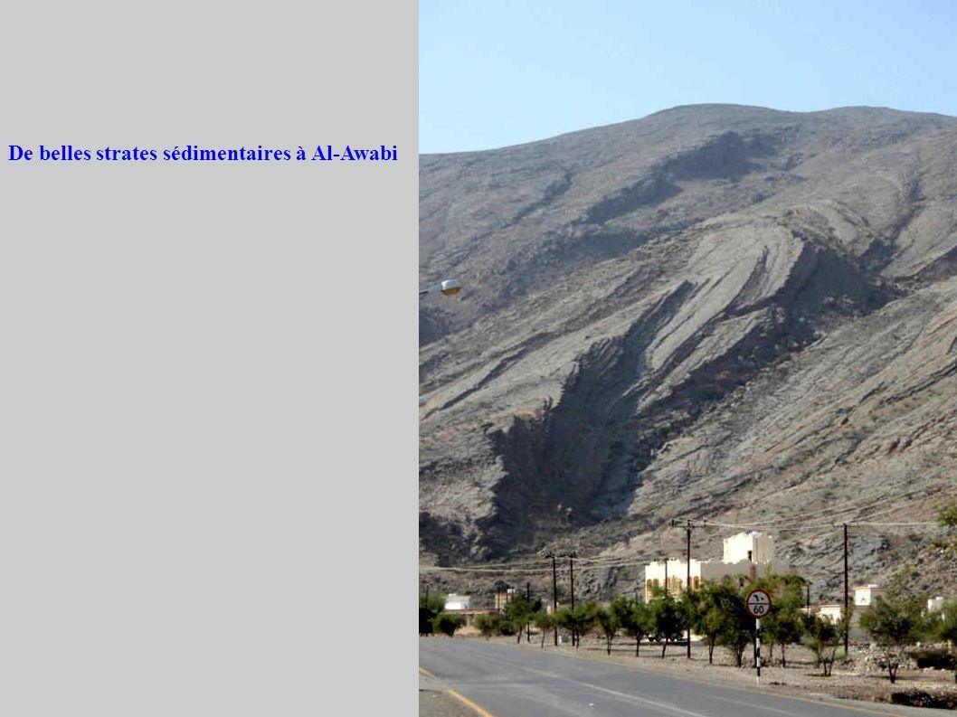 De belles strates sédimentaires à Al-Awabi