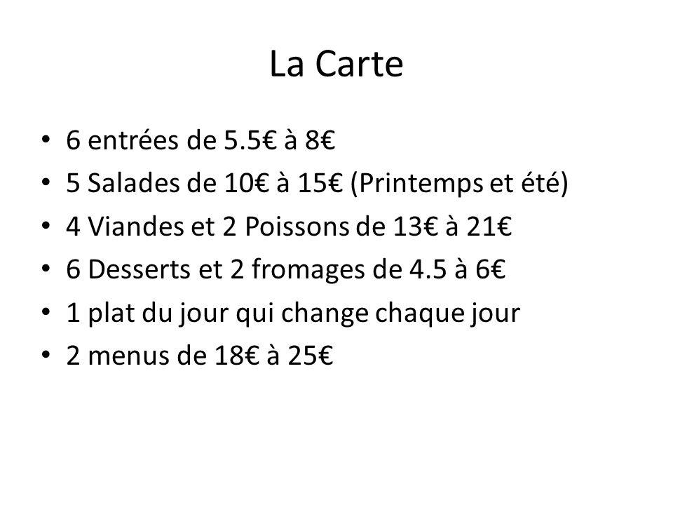 La Carte 6 entrées de 5.5€ à 8€ 5 Salades de 10€ à 15€ (Printemps et été) 4 Viandes et 2 Poissons de 13€ à 21€