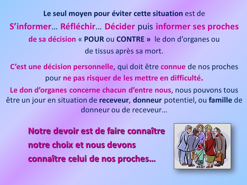 S'informer… Réfléchir… Décider puis informer ses proches