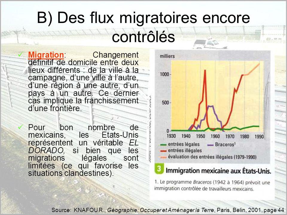 B) Des flux migratoires encore contrôlés