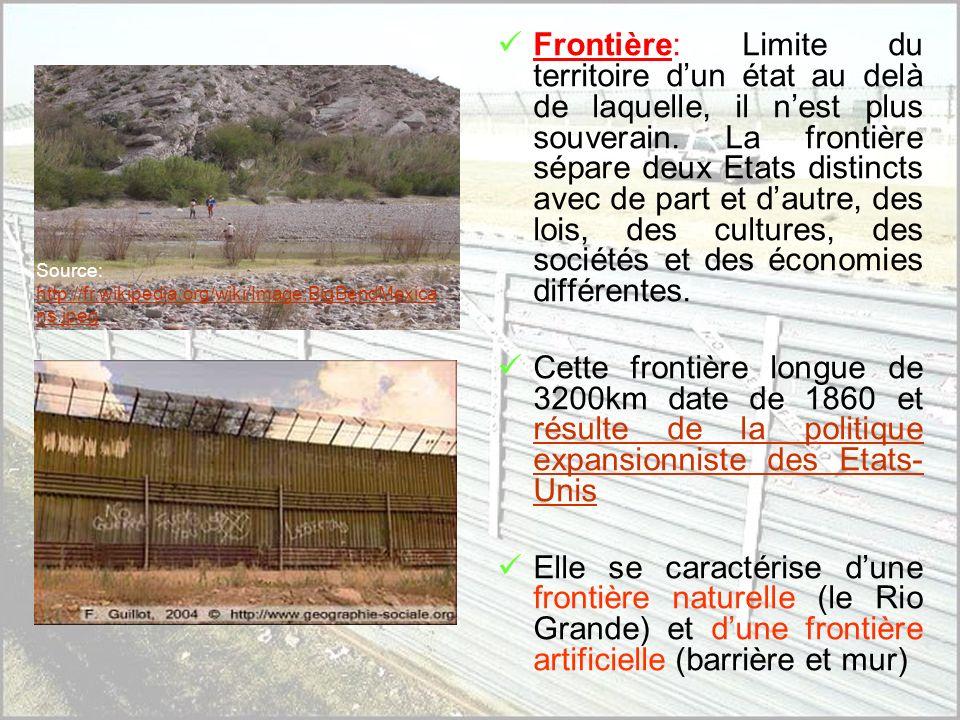 Frontière: Limite du territoire d'un état au delà de laquelle, il n'est plus souverain. La frontière sépare deux Etats distincts avec de part et d'autre, des lois, des cultures, des sociétés et des économies différentes.