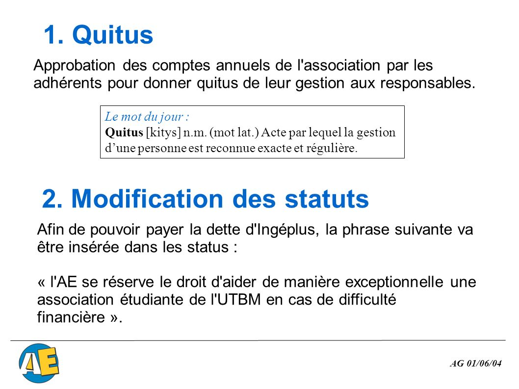 2. Modification des statuts