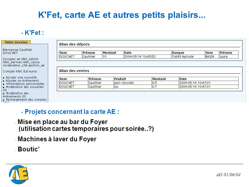 K Fet, carte AE et autres petits plaisirs...
