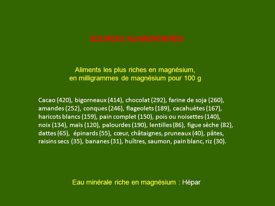SOURCES ALIMENTAIRES Aliments les plus riches en magnésium,