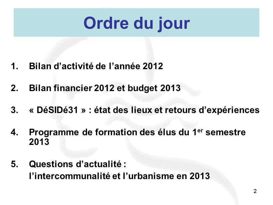 Ordre du jour Bilan d'activité de l'année 2012