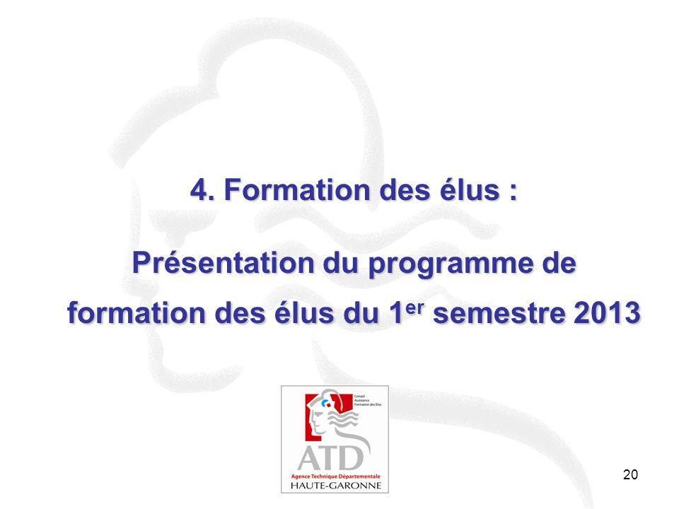 4. Formation des élus : Présentation du programme de formation des élus du 1er semestre 2013