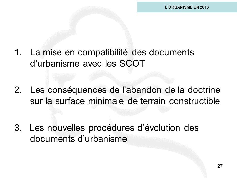La mise en compatibilité des documents d'urbanisme avec les SCOT