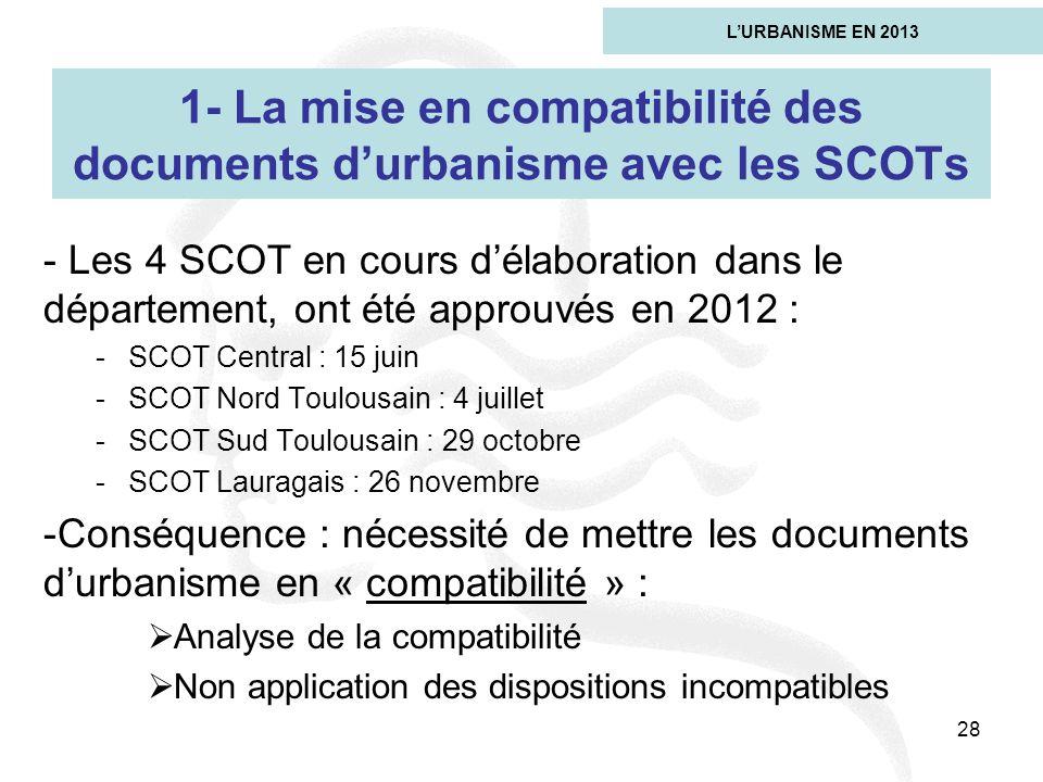 1- La mise en compatibilité des documents d'urbanisme avec les SCOTs
