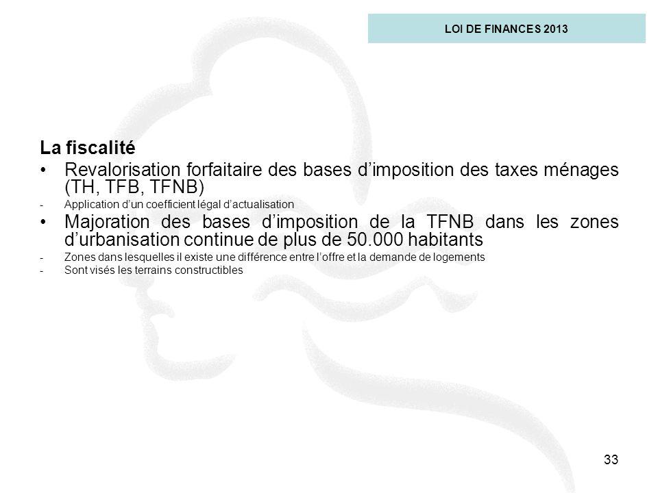 LOI DE FINANCES 2013 La fiscalité. Revalorisation forfaitaire des bases d'imposition des taxes ménages (TH, TFB, TFNB)