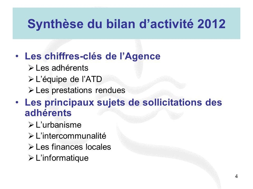 Synthèse du bilan d'activité 2012