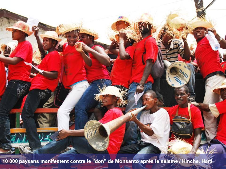 10 000 paysans manifestent contre le don de Monsanto après le séisme / Hinche, Haïti
