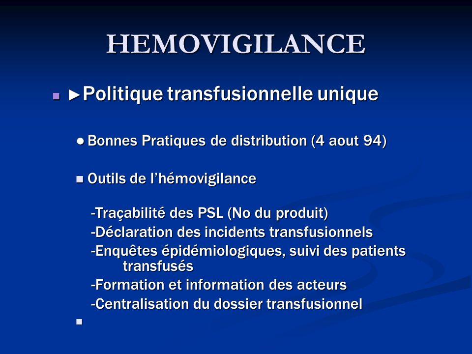 HEMOVIGILANCE ►Politique transfusionnelle unique