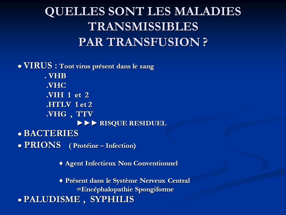 QUELLES SONT LES MALADIES TRANSMISSIBLES PAR TRANSFUSION