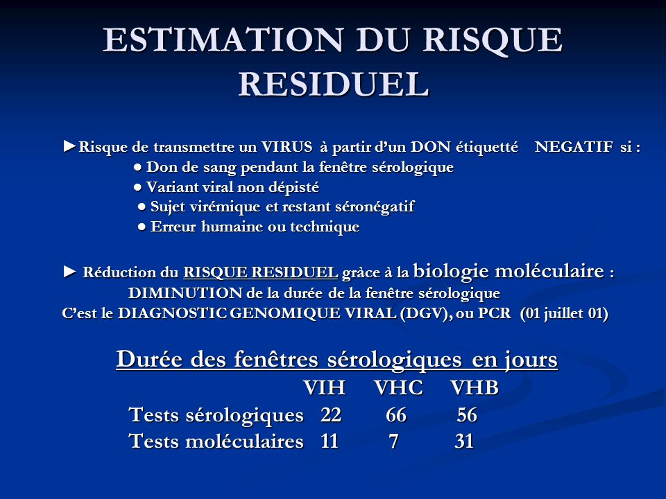 La s curit transfusionnelle en ppt video online t l charger for Fenetre serologique