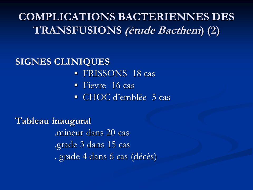 COMPLICATIONS BACTERIENNES DES TRANSFUSIONS (étude Bacthem) (2)