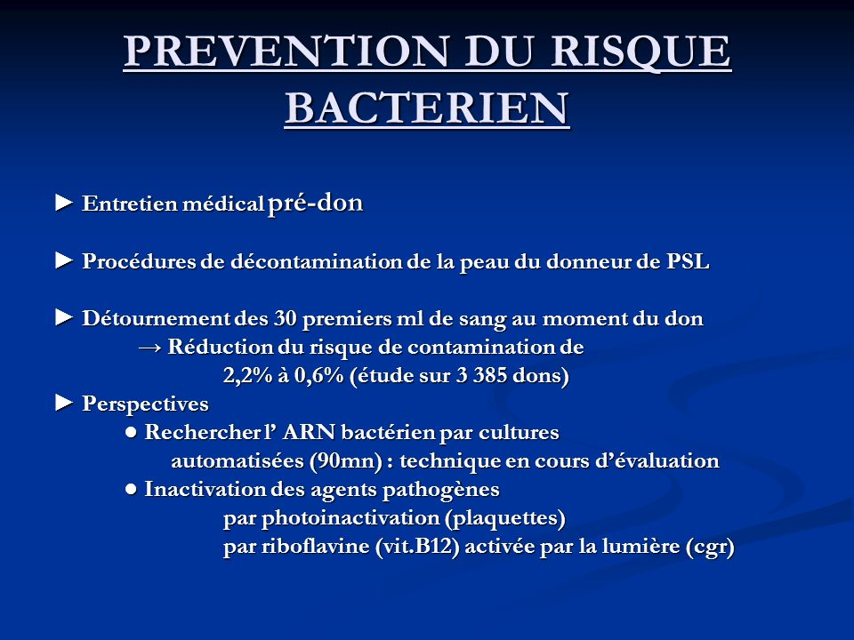 PREVENTION DU RISQUE BACTERIEN
