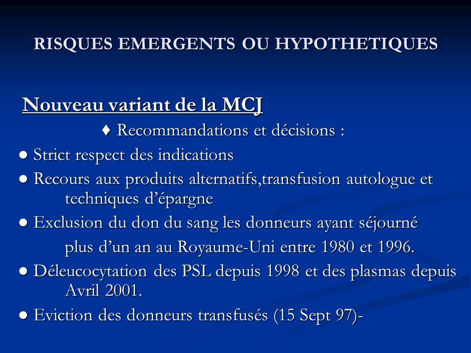 RISQUES EMERGENTS OU HYPOTHETIQUES