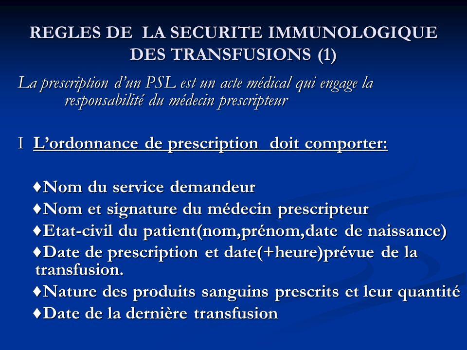 REGLES DE LA SECURITE IMMUNOLOGIQUE DES TRANSFUSIONS (1)
