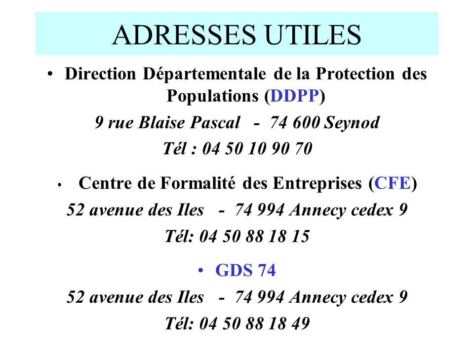 ADRESSES UTILES Direction Départementale de la Protection des Populations (DDPP) 9 rue Blaise Pascal - 74 600 Seynod.