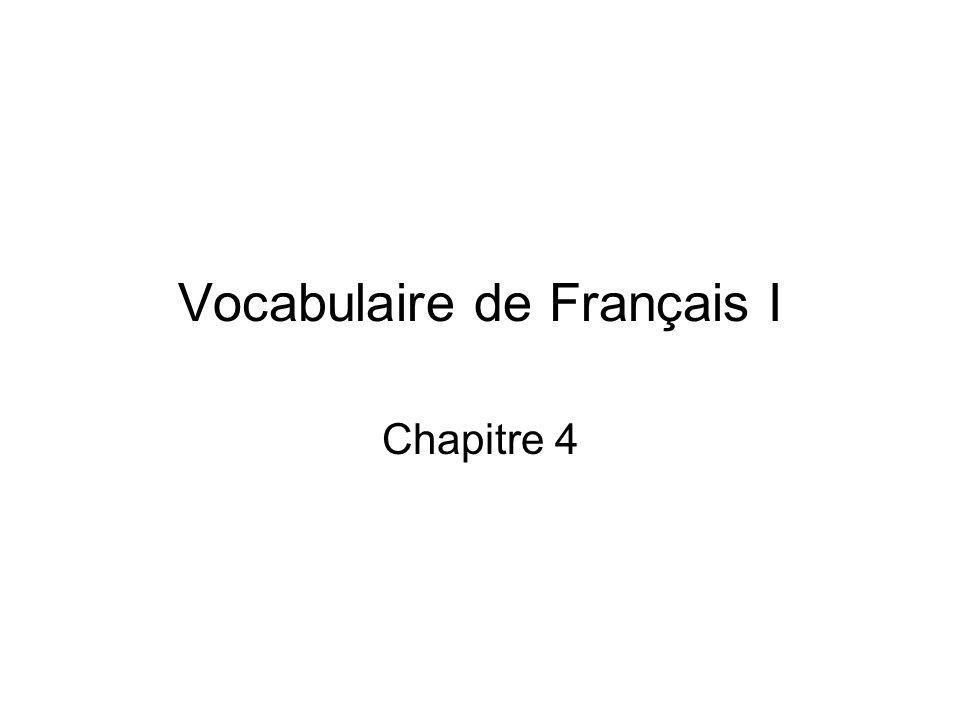 Vocabulaire de Français I