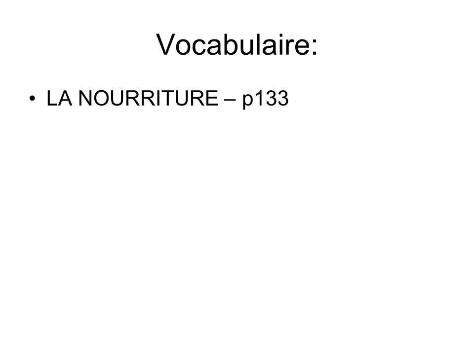 Vocabulaire: LA NOURRITURE – p133