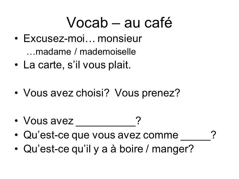 Vocab – au café Excusez-moi… monsieur La carte, s'il vous plait.