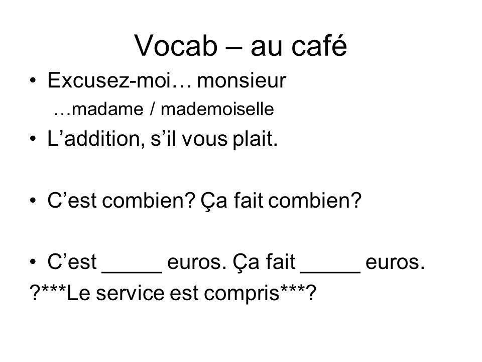 Vocab – au café Excusez-moi… monsieur L'addition, s'il vous plait.