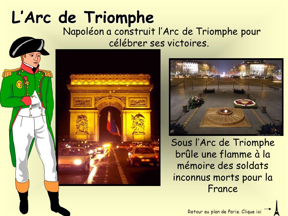 Napoléon a construit l'Arc de Triomphe pour célébrer ses victoires.