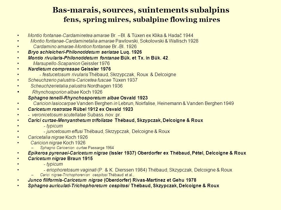 Bas-marais, sources, suintements subalpins fens, spring mires, subalpine flowing mires