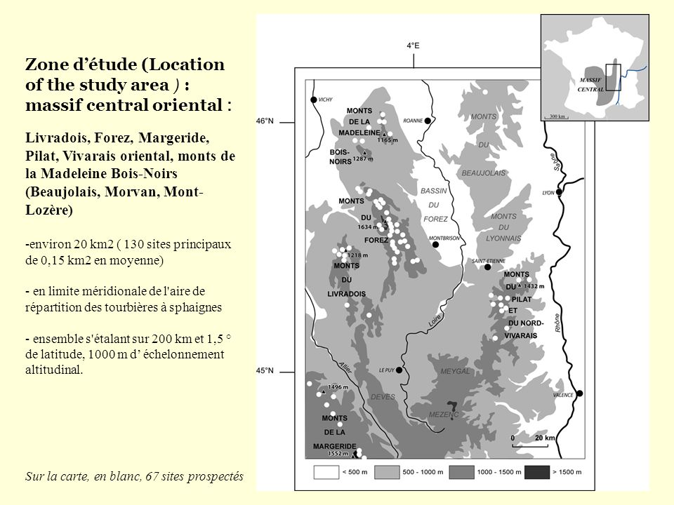 Zone d'étude (Location of the study area ) : massif central oriental :