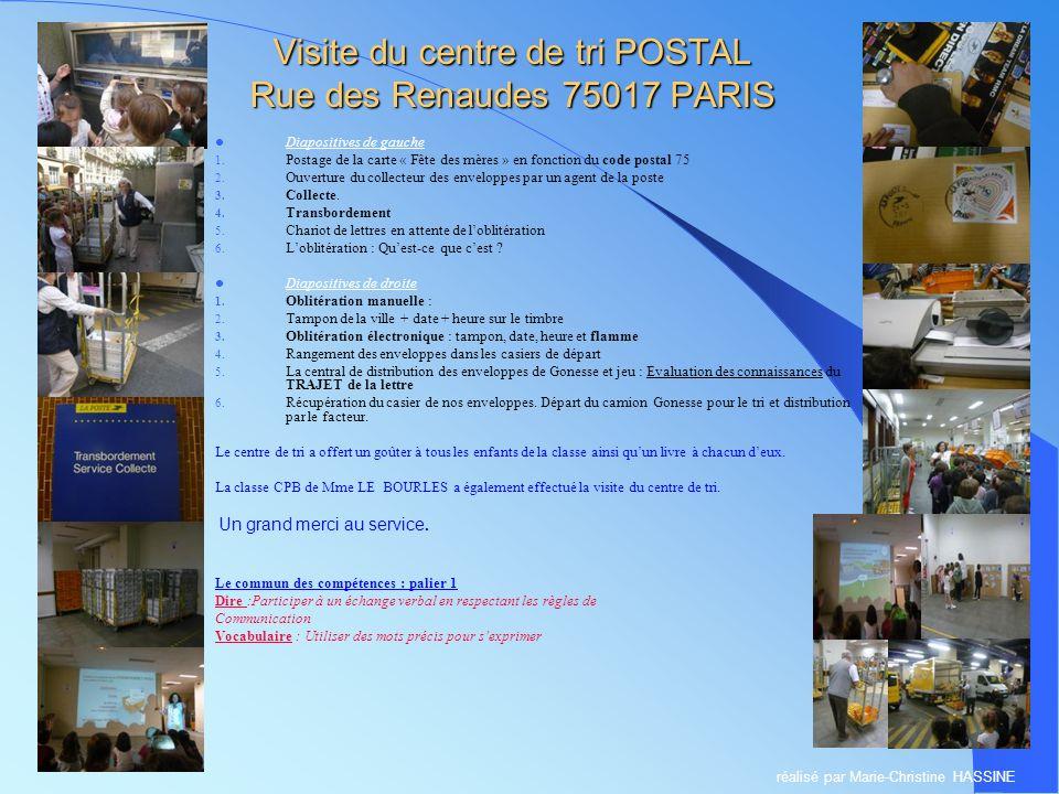 Visite du centre de tri POSTAL Rue des Renaudes 75017 PARIS