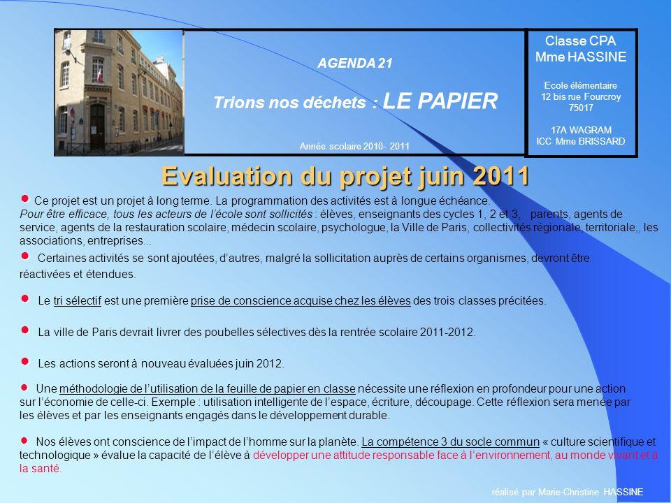 Evaluation du projet juin 2011