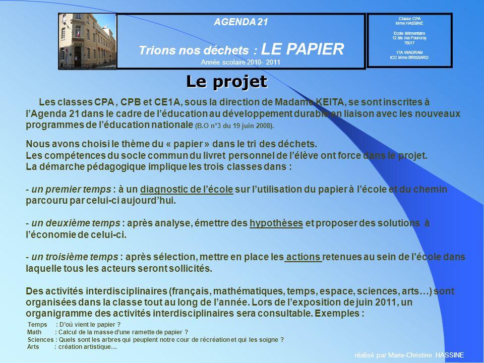Le projet Trions nos déchets : LE PAPIER AGENDA 21