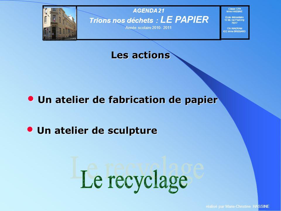 Le recyclage Les actions Un atelier de fabrication de papier