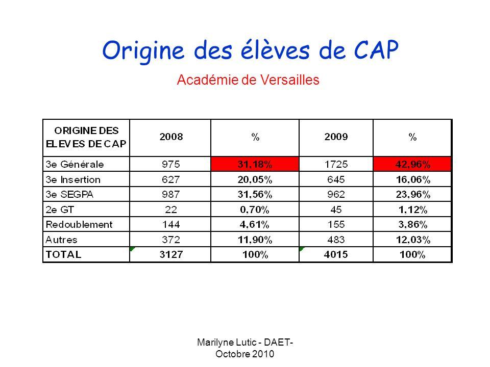 Origine des élèves de CAP